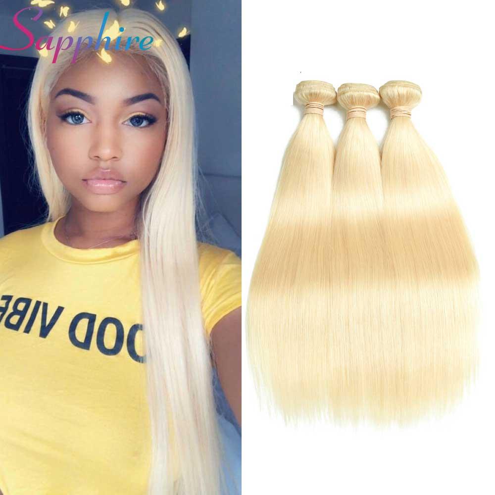Сапфир перуанский прямые волосы 3bundles 613 блондинка человеческих волос Связки 100% не Волосы remy 8-24 дюймов Бесплатная доставка