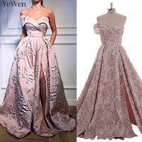 Карманы пикантное платье на одно плечо розовые вечерние платья золотистого цвета 2019 длинные 3D с цветочным узором Модные Формальные Вечерни