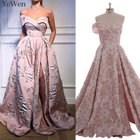 Pockets One Shoulder Sexy Pink Gold Evening Dresses 2019 Long 3D Flower Fashion Formal Evening Gowns Long Elegant Prom Dress