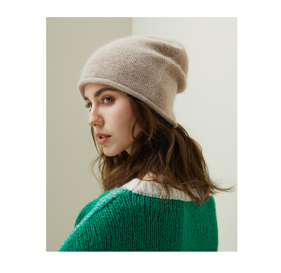 2018 New Women Baggy Bonnet Beanies Female Rabbit Hair Wool Knitted Winter Hats Soft Skiing Slouchy Beanie With Back Opening (17)