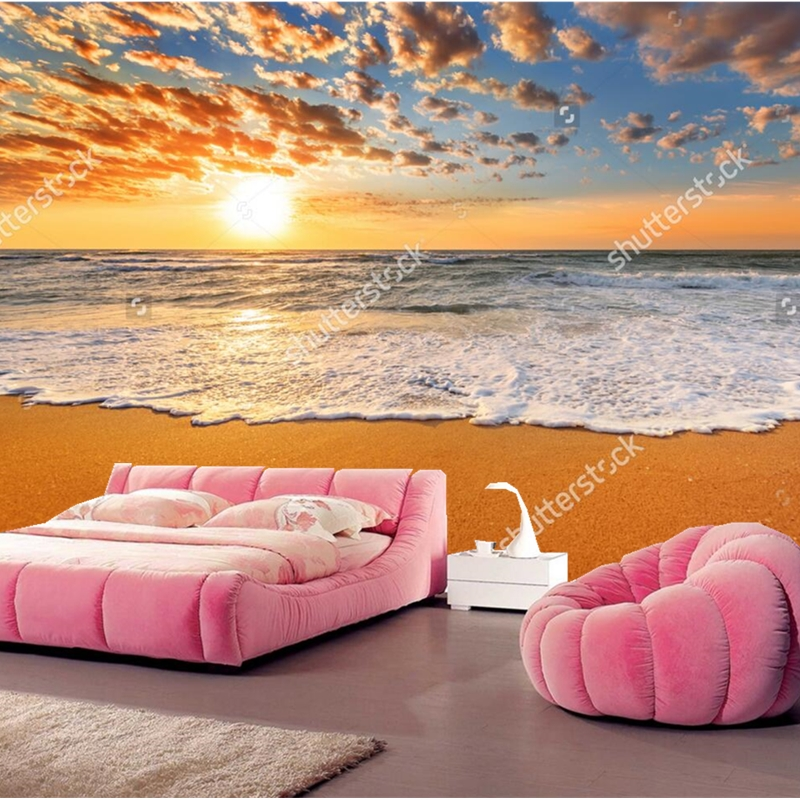 Natural scenery wallpaper,Colorful ocean beach sunrise,3D photo mural for living room bedroom restaurant wall vinyl wallpaper sylvanian families морская вечеринка 5207