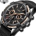2019 uhr LIGE Herren Uhren Top Brand Luxus Männer Casual Leder Wasserdichte Chronograph Männer Sport Quarz Uhr Relogio Masculino-in Quarz-Uhren aus Uhren bei