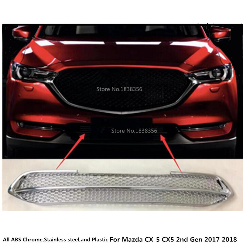 цена на For Mazda CX-5 CX5 2nd Gen 2017 2018 car auto body protection detector ABS Chrome trim Front up Grid Grill Grille panel 1pcs