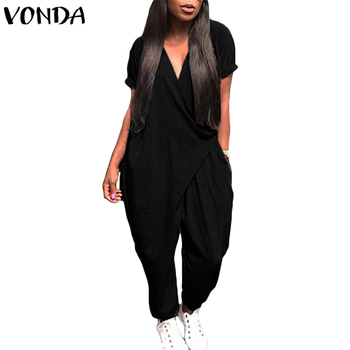 VONDA Rompers Womens Jumpsuit 2018 Summer Overalls Sexy V Neck Playsuit Short Sleeve Casual Loose Harem Pants Plus Size Trousers plus size short overalls