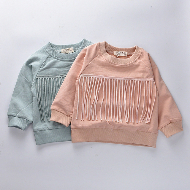 Детская одежда 2016 Осень Девушки футболки полный рукавом с капюшоном новорожденных Девочек одежда Бобо выбирает кисти Тройники детей толстовка
