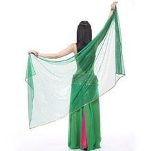 2018 Belly Dance Costume Dancing Silk Shawl Veil 250 * 120cm 12 Warna Bellydance Veil Sequins Belly Dance Scarf Accessories