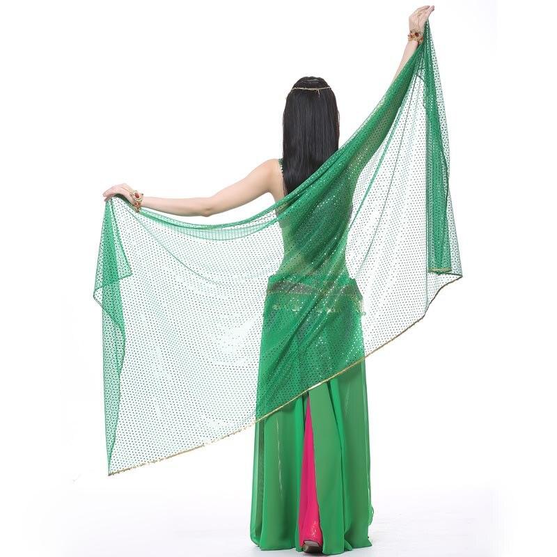 2020 Belly Dance Costume Dancing Silk Shawl Veil 210X95cm 12 Colours Bellydance Veil Sequins Belly Dance Scarf Accessories