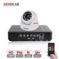 KRSHDCAM 4CH 1080N 5 IN 1 AHD DVR Security CCTV System 20M IR 2PCS 1080P CCTV