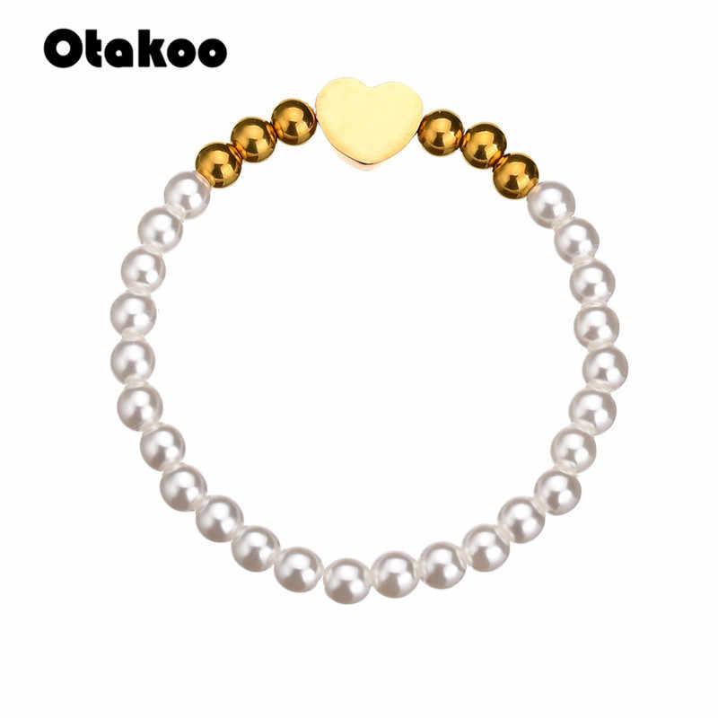 Otakoo bracelet women chain bead fashion design bracelets stainless steel Heart pendant pulseras elegant jewelry gift bileklik