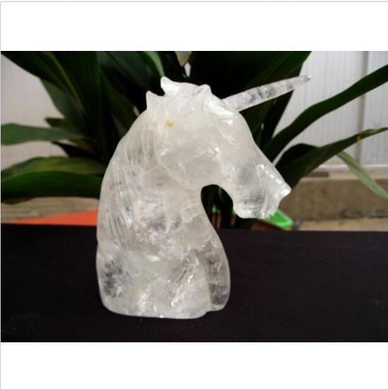 Sculptures manuelles naturelles dhippocampe de licorne de cristal de Quartz clairSculptures manuelles naturelles dhippocampe de licorne de cristal de Quartz clair