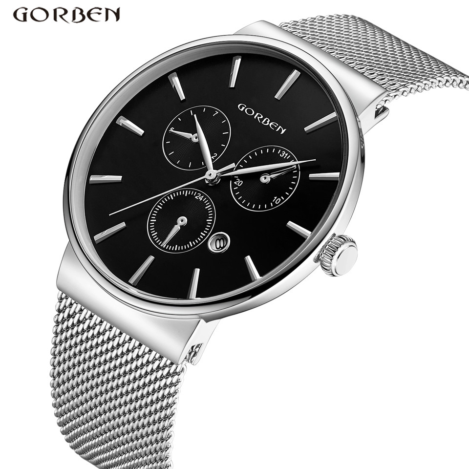 Luxury Brand Stainless Steel Mesh Band Watch Men Ultra-Thin Steel Dial Date Waterproof Sports Quartz Mens Wristwatches Best Gift