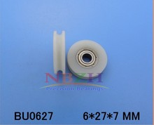6*26*7mm With V/u-shaped slot plastic coated nylon pulley bearing high quality 0627 uudoor roller  embedded