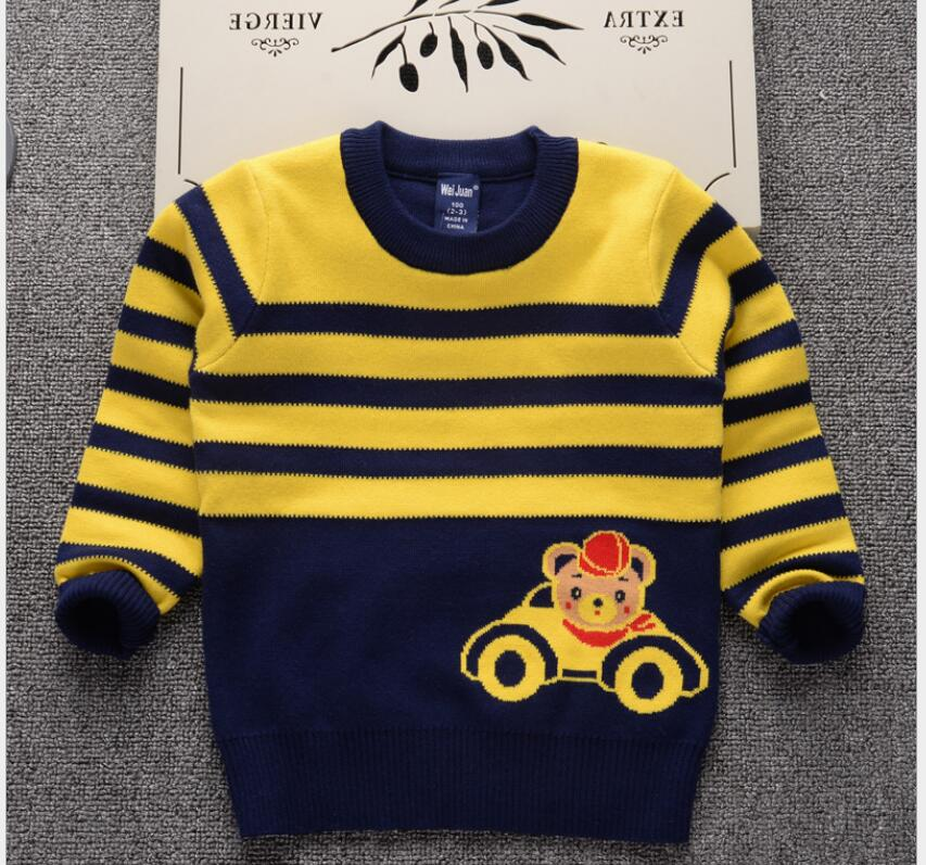 O Neck Striped Knitted sweater All Match Cotton Double Sets of Sweaters Printted Cute Chararcter Autumn