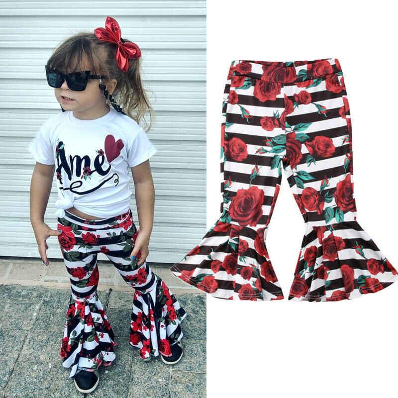 Moda Yürüyor Çocuk Bebek Kız Elbise Çizgili Çiçek Çan Dipleri Pantolon Flare Pantolon Tayt Pantolon
