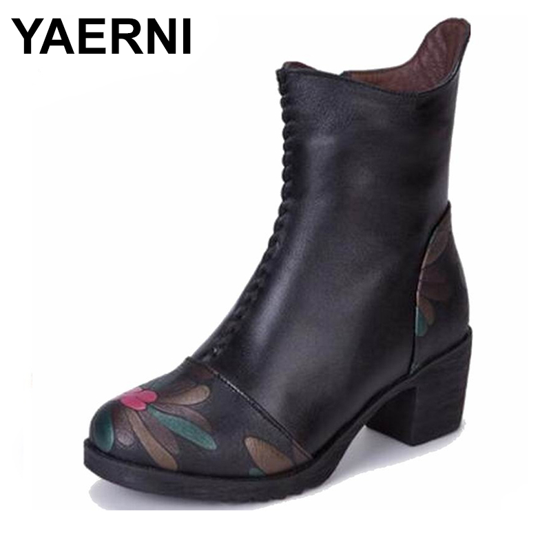 YAERNI 2018 Genuine Leather Shoes Women Ankle Boots Autumn Thick High Heel Martin Boots Zip Winter Handmade Leather Shoes Boot fanyuan pu leather shoes women ankle boots autumn thick high heel martin boots zip winter handmade leather shoes boot blac