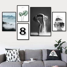 Watercolor Leaf Woman Dancer Wall Art Canvas Painting Nordic Poster And Prints Pictures For Living Room Scandinavian Decor