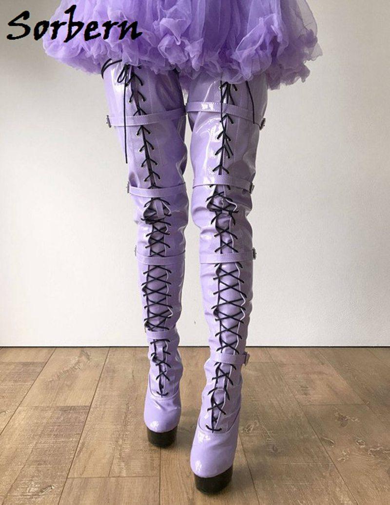 pourpre Cm De Bottes Entrejambe Color Femmes Cuisse Luxe 15 attaché Femme Haute Boucle Chaussures Super Designer Sorbern Talons Croix Fashions Custom xF1qR