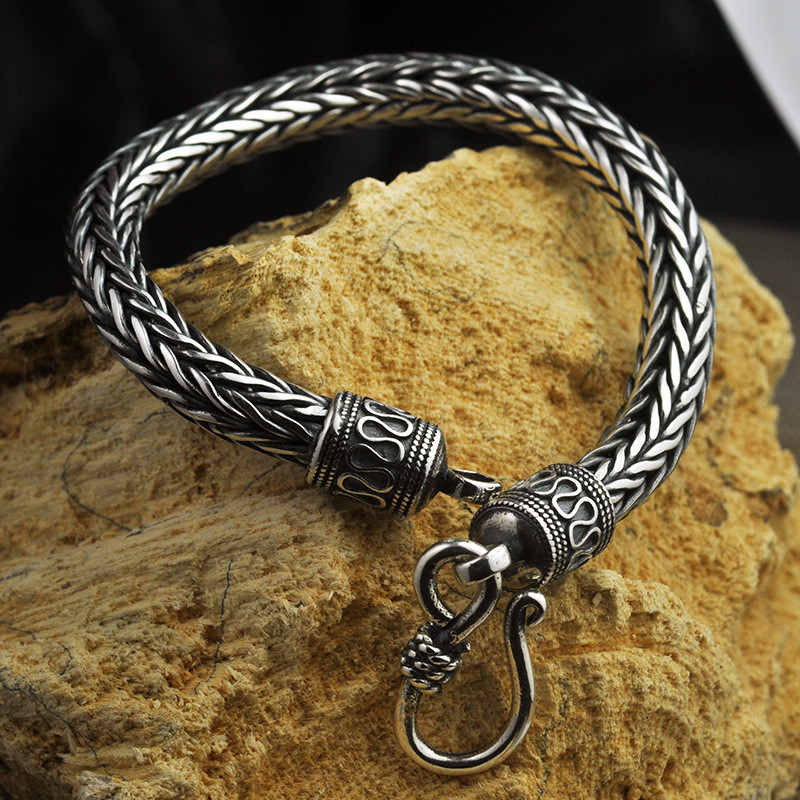 V.YA 6mm Thai Silver Heavy Mens Bracelets 925 Sterling Silver Dragon Shape Bracelet Bangles for Men Male Jewelry 20cm 21cm v ya vintage thai silver men bracelets bangles 925 sterling silver mens bracelet bangle cuff fine jewelry