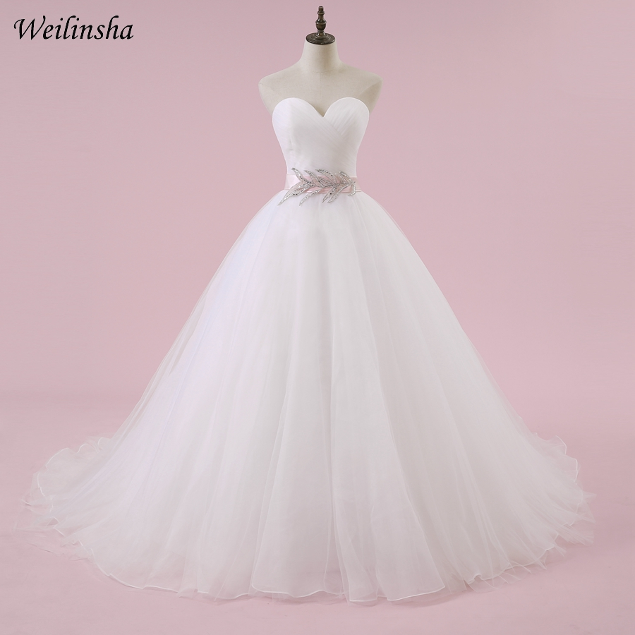 us $55.2 40% off|weilinsha cheap wedding dress with pink belt sweetheart  sleeveless pleats a line bridal gowns robe de mariage back buttons-in  wedding