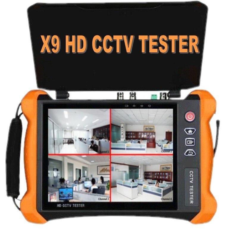 IP CCTV Tester MonitorMulti-functional X9series 8 Inch H.265 4K HD CVBS AHD CVI TVI SDI Camera 8MP MultimeterOptical Fiber WIFI