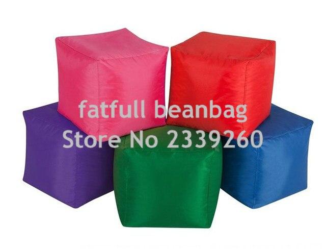 COBREM APENAS NO FILLER-Quadrado VERDE muitas cores sentado cubo impermeável ao ar livre do saco de feijão pufe pufe
