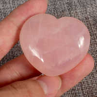 Love Stone Rose Quartz Crystal Heart Beads 45x40x20 mm Natural Rose Quartz Wedding Decor Crystal Healing Chakra Reiki Craft