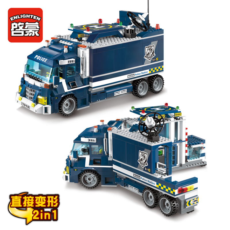 1918 ENLIGHTEN City Series Mobile Police Station 2 IN 1 Model Building Blocks Action Figure Toys For Children Compatible Legoe city series police car motorcycle building blocks policeman models toys for children boy gifts compatible with legoeinglys 26014