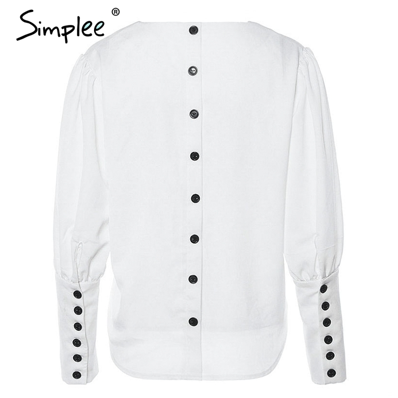 Simplee V neck women blouse shirt Puff sleeve button white blouse Autumn winter lady shirt top Female office chiffon blouse tops