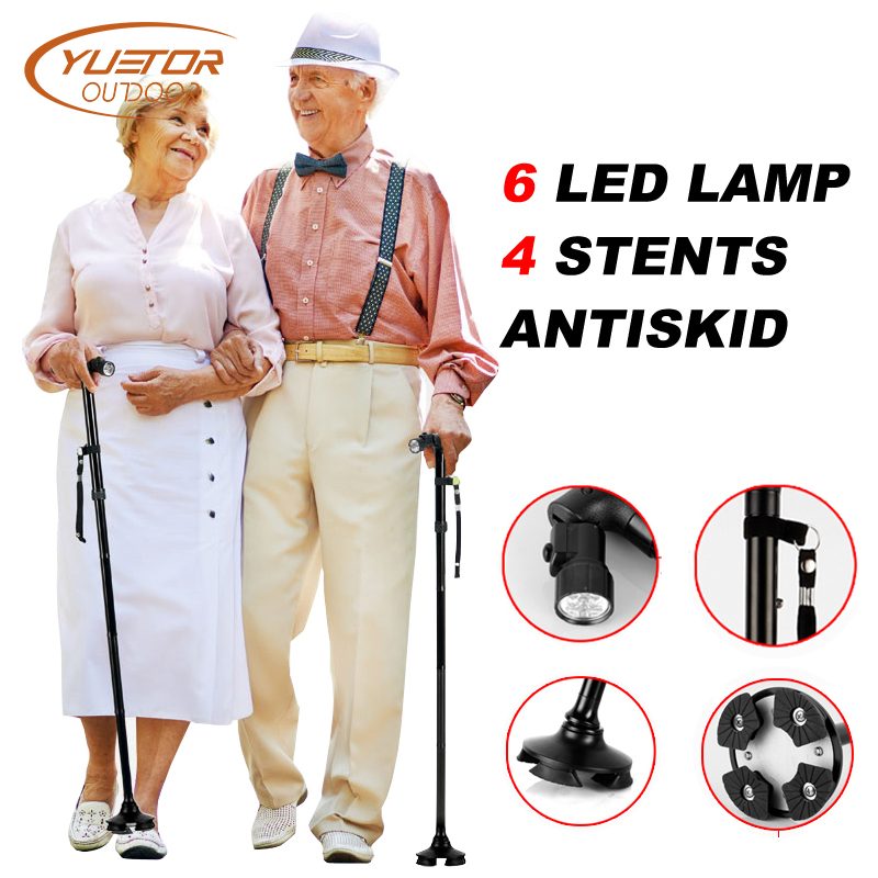YUETOR LED Light Old Man Folding Trekking Poles T-handle Man Hiking Poles Cane Walking Stick for Elderly Bastones Para Ancianos