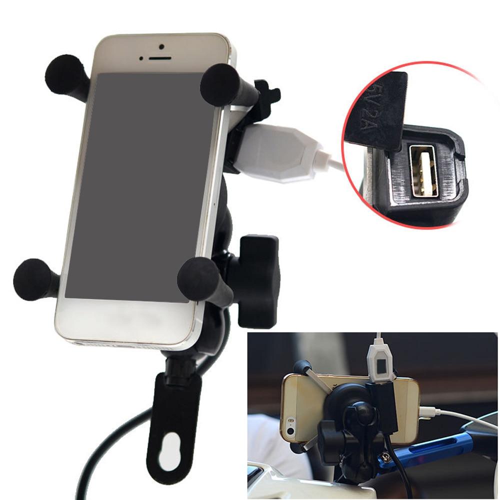 imágenes para Besegad 360 Grados de Rotación de La Motocicleta 3.5-6 pulgadas Del Teléfono Celular GPS Sostenedor Del Montaje Del Teléfono Móvil y Cargador USB para 12-24 V de La Motocicleta