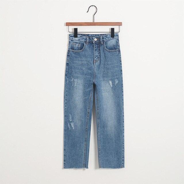 Vintage Mujer De Cintura Alta Pantalones De Mezclilla Azul Jeans Para Mujer Pantalones Anchos De La Pierna Tobillo Longitud Pantalones Para Damas En Pantalones Vaqueros De Ropa Y Accesorios De Las Mujeres