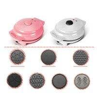Máquina elétrica de waffle  máquina automática antiaderente de 220v com 7 placas  fabricação de panquecas e rosquinha ue/au/reino unido