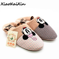 New Cotton Slippers Women Spring/Autumn Home   Shoes   Cartoon Mickey/Minnie Casual Non-slip Indoor Flat with   Shoes   Female pantufa