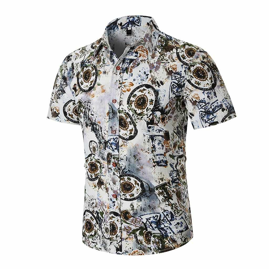 Мужские рубашки в цветах повседневное Печатных Кнопка подпушка рубашка с короткими рукавами Гавайская блузка camisas de hombre мужской костюмы Apr8