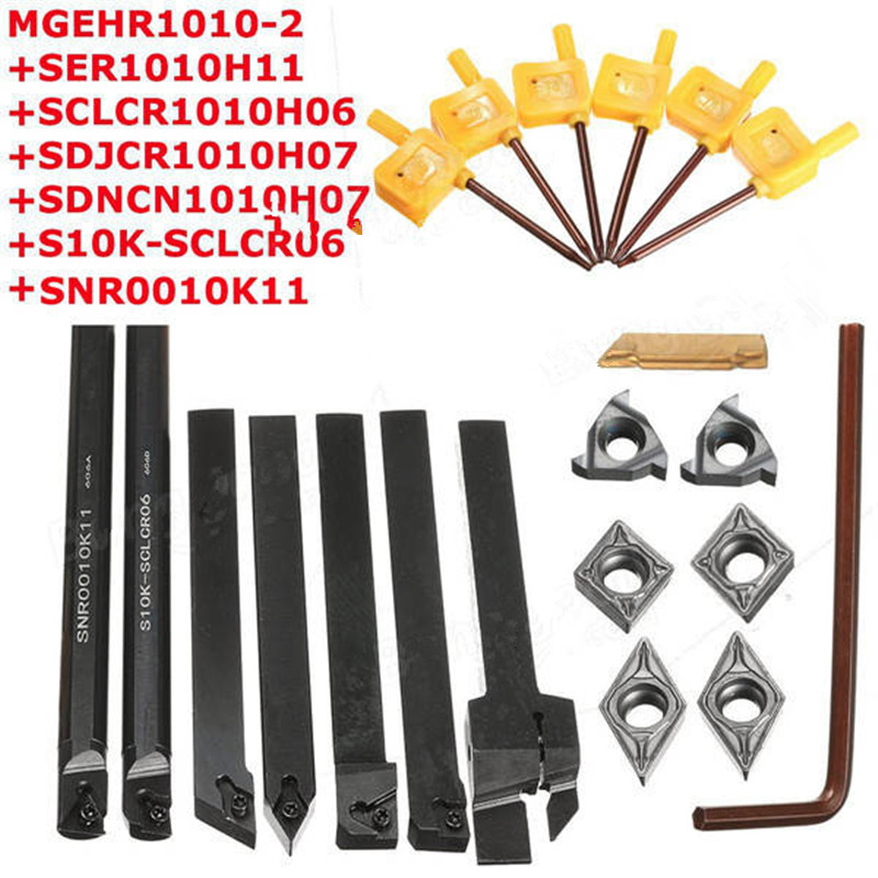 7pcs 10mm Shank Lathe Turning Tool Holder Boring Bar With Carbide Inserts ser1616h16 holder external thread turning tool boring bar holder with 10pcs 16er ag60 inserts