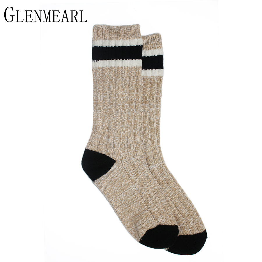 Crew Women Boot Socks Striped Soft Coolmax Compression Spring Winter Thick Warm Striped Brand Ladies Casual Boot Sock Female 40  hockey sock