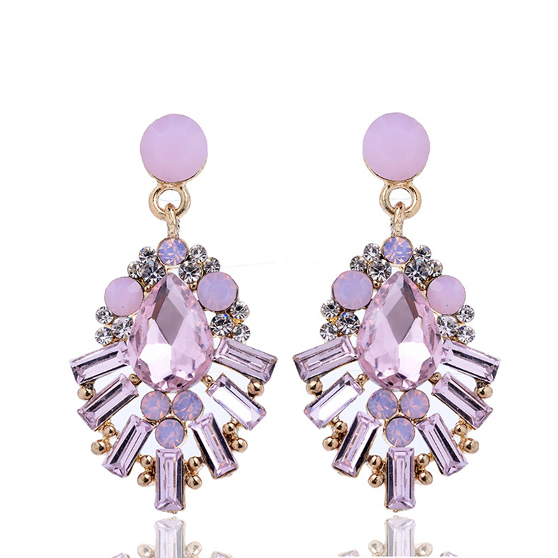 3d94a03b5f SHUANGR Purple crystal earrings Gold Color Purple Dangles rhinestone ...