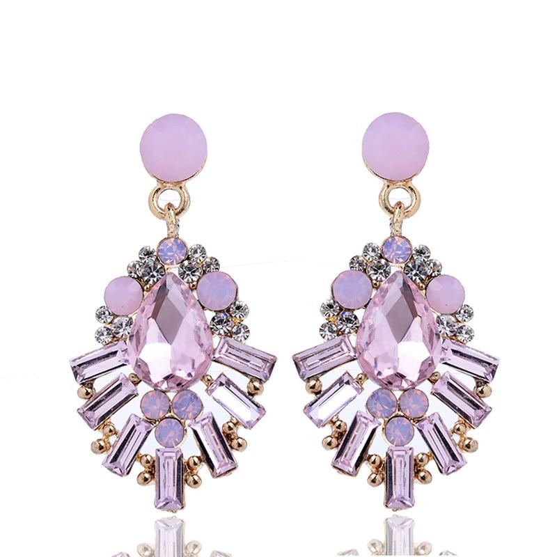 Crystal Opal Stone Waterdrop Drop Earrings Rhinestone Gold Color Piercing Earrings Women Wedding Jewelry Christmas Gift 2018