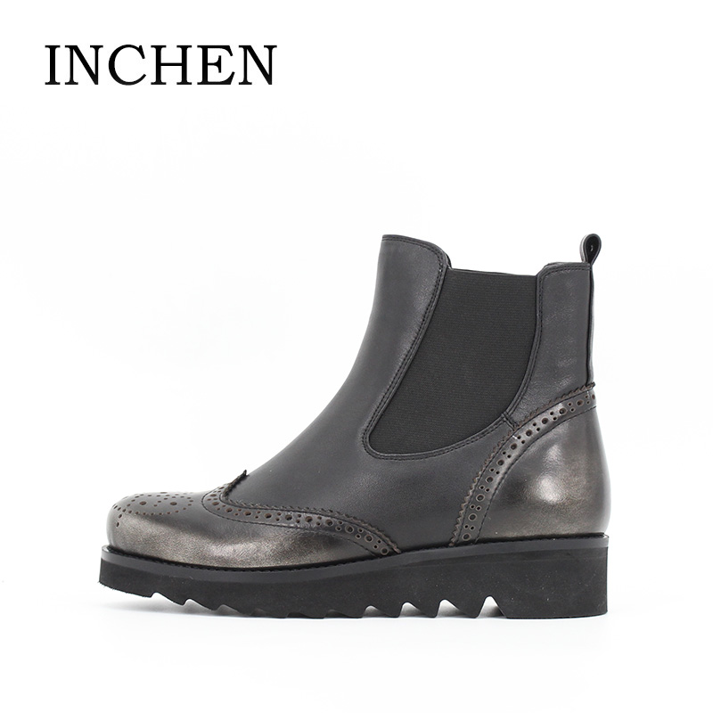 INCHEN Genuine Leather Chelsea Boots For Women High Quality Cow Leather Ankle Boot Round Toe Baroque Flat With Ladies Sheos JS47 no name es 0053