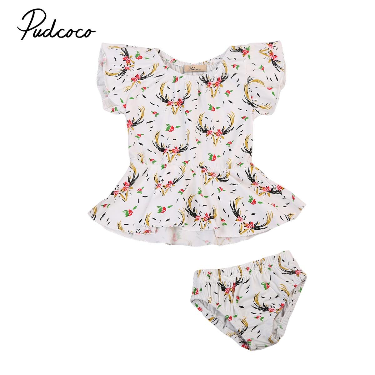 Summer Newborn Infant Baby Girls Outfit Clothes Floral Romper Jumpsuit Bodysuit+Shorts Bottoms Cute Children Clothing 2pcs