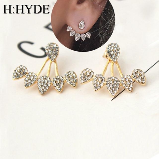 H:HYDE 2018 Lotus Crystal Jacket Flower Stud Earrings For Women fashionJewelry D