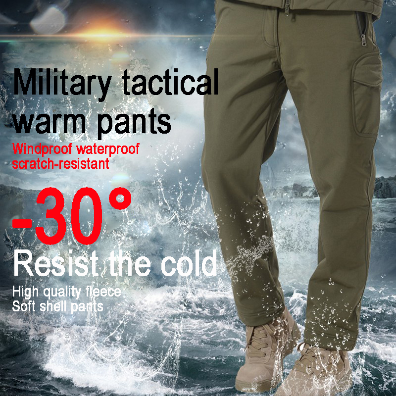 Brand men pant Winter fleece Warm windproof waterproof Outdoor sport fishing Military tactical Ski Hiking women trousers cargo