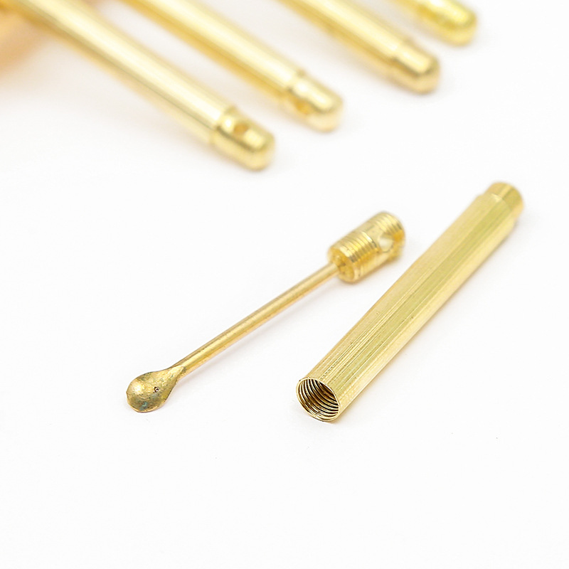 Folding type Golden Earwax Cleaner Portable Ear Wax Removal Tools Ear Spoon Attached A Key Ring