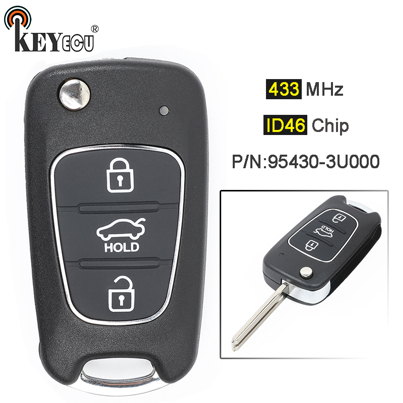 KEYECU 433MHz ID46 Chip P/N: 95430-3U000 Upgraded Flip Folding 3 Button Remote <font><b>Key</b></font> Fob for <font><b>Kia</b></font> <font><b>Sportage</b></font> 2010 <font><b>2011</b></font> 2012 2013 2014 image