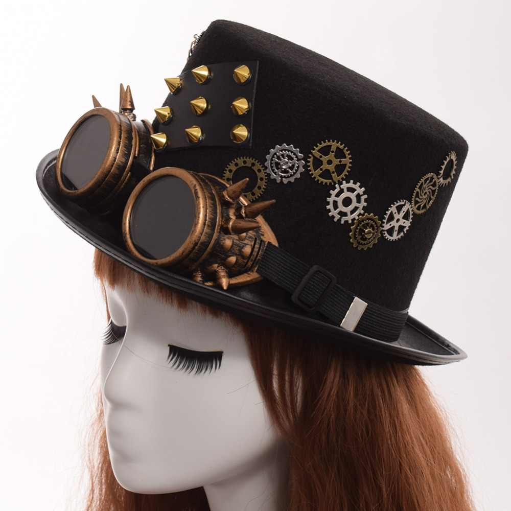 9648d534160 ... Gothic Vintage Men Woman Steam Punk Hat Gear Rivet Glasses Top Hat Punk  Unisex Party Black