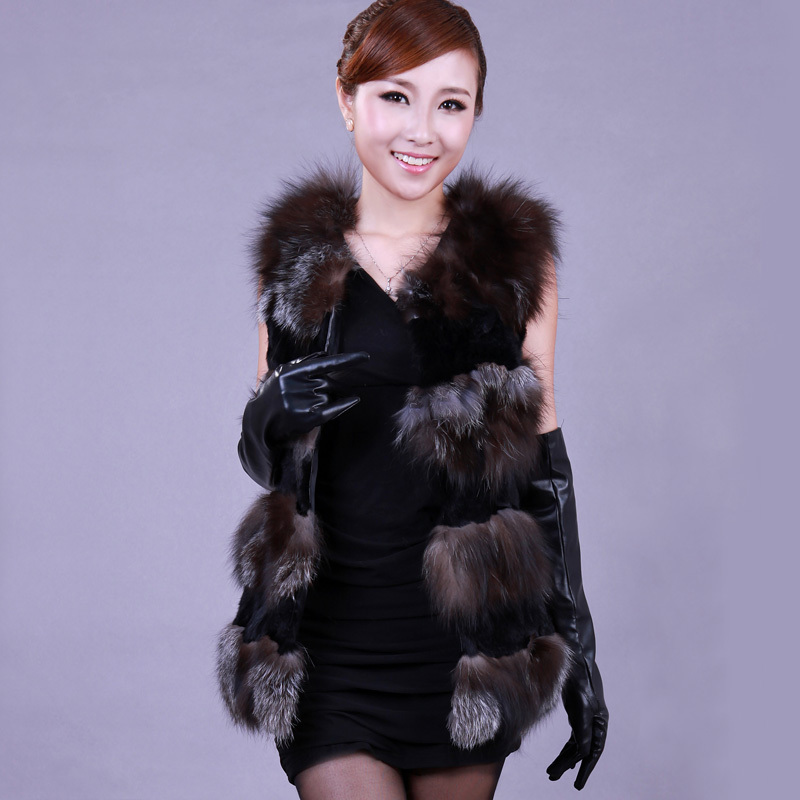 fox fur rabbit fur patchwork outerwear women's sleeveless natrual fox fur vest Luxurious fur coat free shipping  T0352