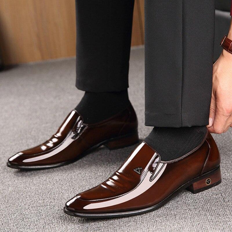 Leather Men's Shoes British Business Suit Men's Shoes Genuine Leather  Wedding Shoes Men  Dress Shoes For Men