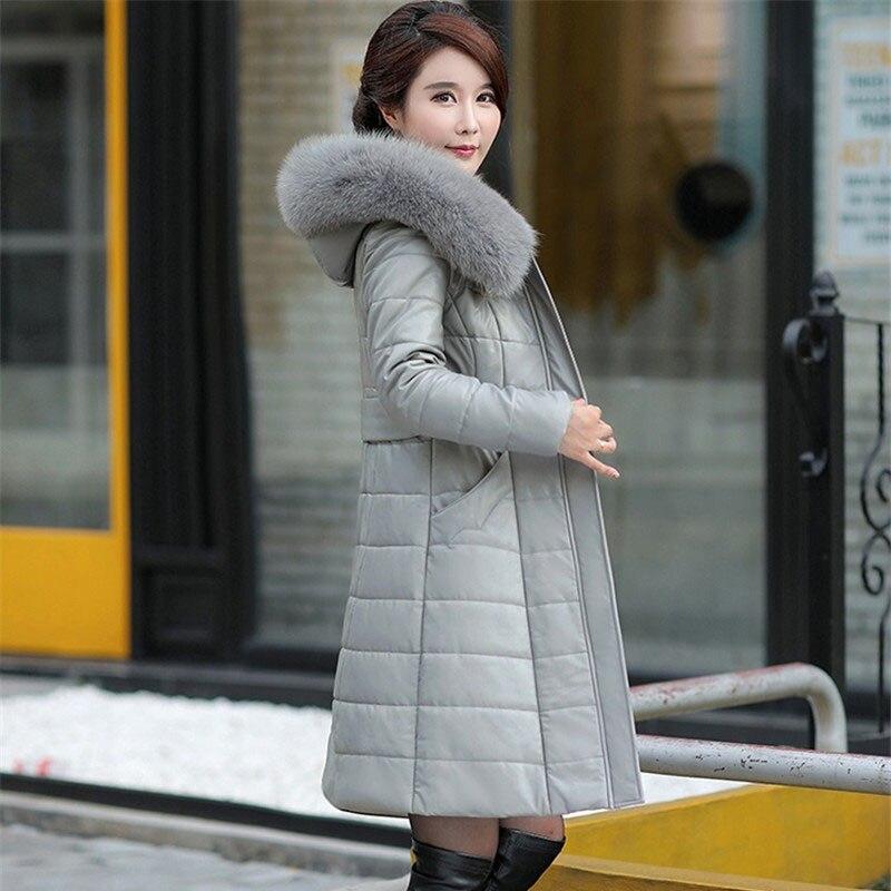 Abrigos de Mujer de invierno lulumily chaqueta de cuero largo abrigo de moda femenina cuello de piel grande grueso delgado más tamaño de piel de oveja Parkas Outwear-in Parkas from Ropa de mujer    2