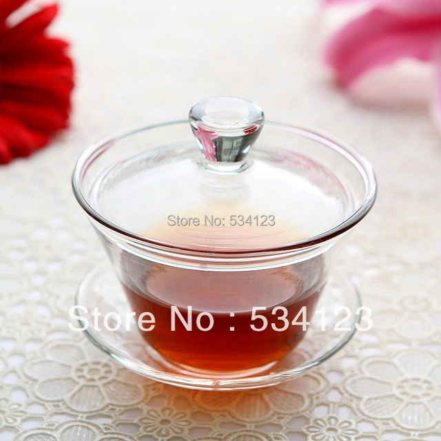 180ml Glass Tea cup with saucer with Lid Gongfu flower Tea cup teapot set coffee tea x 3