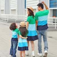Summer Family Clothing Set Mom And Daughter Bohemian Dress Dad And Son Short T Shirt Fashion